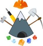 Ícone liso de mineração Fotos de Stock