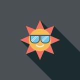 Ícone liso de Sun com sombra longa Fotos de Stock Royalty Free