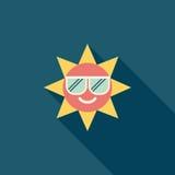 Ícone liso de Sun com sombra longa Imagem de Stock