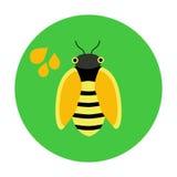 Ícone liso do círculo com abelha Fotos de Stock Royalty Free