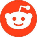 Ícone liso do círculo de Reddit alaranjado e branco ilustração stock