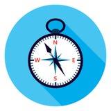 Ícone liso do círculo do compasso sobre o azul Imagens de Stock