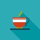 Ícone liso do café com sombra longa Fotografia de Stock
