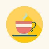 Ícone liso do café com sombra longa Imagens de Stock Royalty Free