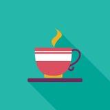 Ícone liso do café com sombra longa Imagem de Stock Royalty Free