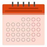 Ícone liso do calendário vermelho ilustração stock