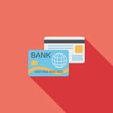 Ícone liso do cartão de crédito com sombra longa Imagens de Stock Royalty Free