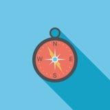 Ícone liso do compasso com sombra longa Foto de Stock Royalty Free