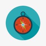 Ícone liso do compasso com sombra longa Fotografia de Stock