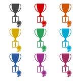 Ícone liso do copo do troféu, ícones da cor ajustados Imagens de Stock Royalty Free