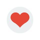 Ícone liso do dia de são valentim vermelho do coração Fotos de Stock Royalty Free