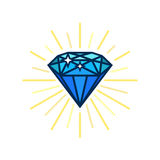 Ícone liso do diamante moderno Idéia brilhante Soluções espertas Projeto liso do vetor com linhas Imagens de Stock