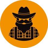 Ícone liso do fazendeiro/trabalhador - um homem com um bigode vestir da barba em uma camisa de manta, em uma sarja de Nimes/em um Imagens de Stock