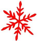 Ícone liso do floco de neve vermelho no fundo branco ilustração stock