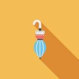 Ícone liso do guarda-chuva com sombra longa Imagens de Stock Royalty Free