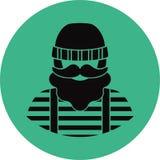Ícone liso do homem do pescador/marinheiro - Imagem de Stock