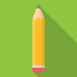 Ícone liso do lápis amarelo com vetor longo da sombra Imagens de Stock