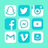 Ícone liso do logotype social dos meios Fotos de Stock Royalty Free