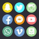 Ícone liso do logotype social dos meios Imagens de Stock Royalty Free