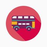 Ícone liso do ônibus do transporte com sombra longa Imagem de Stock Royalty Free