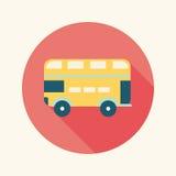 Ícone liso do ônibus do transporte com sombra longa Imagens de Stock