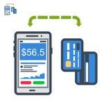 Ícone liso do pagamento do telefone e dos cartões Ilustração do Vetor