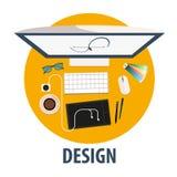 Ícone liso do projeto Projeto da ilustração Profissão autônomo ilustração stock