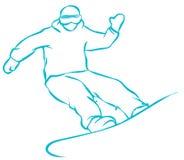 Ícone liso do Snowboarder verde no fundo branco ilustração do vetor
