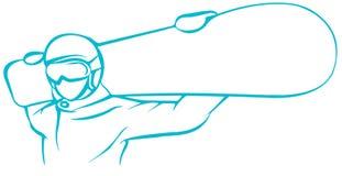 Ícone liso do Snowboarder verde no fundo branco ilustração royalty free