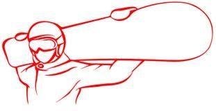 Ícone liso do Snowboarder vermelho no fundo branco ilustração do vetor