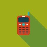 Ícone liso do telefone celular com sombra longa ilustração do vetor
