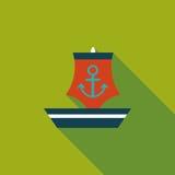 Ícone liso do veleiro com sombra longa Imagens de Stock