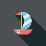 Ícone liso do veleiro com sombra longa Imagens de Stock Royalty Free