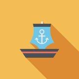 Ícone liso do veleiro com sombra longa Imagem de Stock Royalty Free
