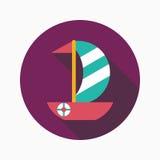 Ícone liso do veleiro com sombra longa Fotos de Stock