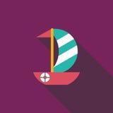 Ícone liso do veleiro com sombra longa Fotografia de Stock Royalty Free