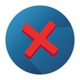 Ícone liso do vetor com vermelho Mark And Blue Button do abandono Foto de Stock