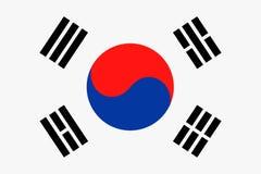 Ícone liso do vetor da bandeira de Coreia do Sul Fotos de Stock Royalty Free