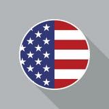 Ícone liso do vetor da bandeira nacional dos EUA Fotos de Stock Royalty Free