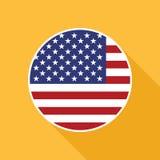 Ícone liso do vetor da bandeira nacional dos EUA Imagens de Stock