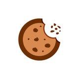 Ícone liso do vetor da cookie Ilustração do biscoito da microplaqueta Alimento da sobremesa ilustração royalty free