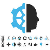 Ícone liso do vetor da engrenagem do Cyborg com bônus Imagens de Stock