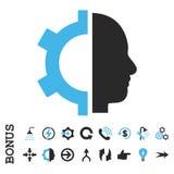 Ícone liso do vetor da engrenagem do Cyborg com bônus Imagens de Stock Royalty Free
