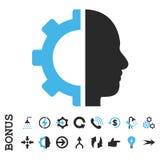 Ícone liso do vetor da engrenagem do Cyborg com bônus Imagem de Stock
