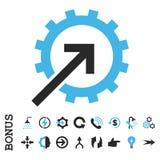 Ícone liso do vetor da integração da roda denteada com bônus Imagens de Stock