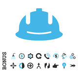 Ícone liso do vetor do capacete da construção com bônus imagens de stock royalty free