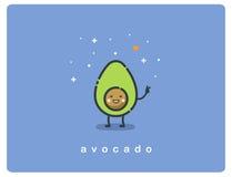 Ícone liso do vetor do personagem de banda desenhada bonito do abacate Imagem de Stock Royalty Free