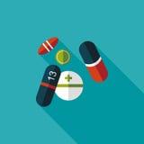 Ícone liso dos comprimidos com sombra longa Foto de Stock Royalty Free