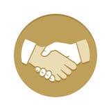 Ícone liso dourado do aperto de mão Imagem de Stock Royalty Free