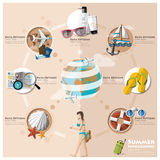 Ícone liso Infographic ajustado das férias do verão e do feriado do curso Imagem de Stock